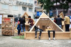 Social Factory by thecaveworkshop was a DIY experience for people to build wooden stolls, was a temporary public space at former Wan Chai Police Station and, above all, was a creative statement on the permanent state of transition affecting Hong Kong.