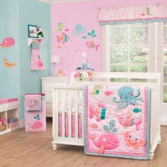 Ocean Crib Bedding for Girls | Under the Sea 4 Piece Baby Crib Bedding Set by Carters Image