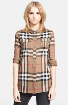 Burberry Women's Brit Woven Check Tunic Shirt | Top and Clothing
