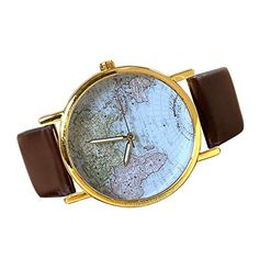 Moonar®World Map Globe Fashion Women's and Men's Wrist Analog Quartz Watches (Brown)