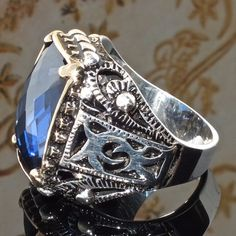 Mens ring 925 Sterling Silver Blue Sapphire CZ size US10 free resizing