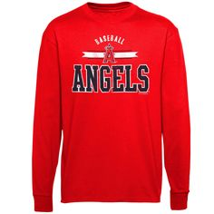 Los Angeles Angels of Anaheim Youth Banner Logo Long Sleeve T-Shirt – Red - $15.99