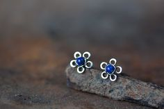 Natural Lapis Lazuli Earrings oxidized small by CookOnStrike, $30.00