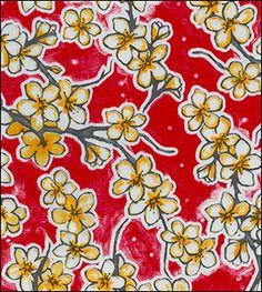 Cherry Blossom Red Oilcloth