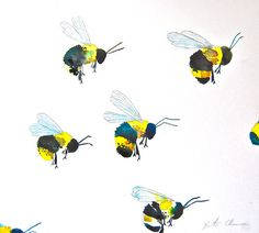 Original watercolor painting of a group of bees out to feast on flowers. Lovely yellows and deep blacks make this a charming and unique painting. Title: To the Feast Medium: watercolor on paper Size: Signed original by Kristina Closs Illustrations, Illustration Art, Watercolor Paintings, Original Paintings, Watercolors, Pattern Texture, China Painting, Bees Knees, Textile Patterns