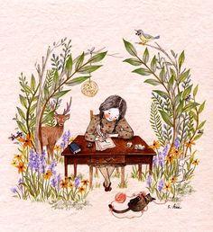Illustrations of people Art And Illustration, Illustrations And Posters, Creative Illustration, Adorable Petite Fille, Whimsical Art, Cute Drawings, Cat Art, Art Inspo, Watercolor Art
