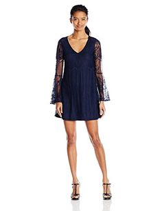 My Michelle Juniors VNeck Dress with Sheer Lace Tulip Sleeves NaNavy Small ** Click on the image for additional details.