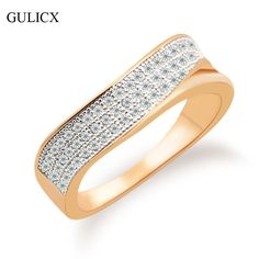 Gulicx cz指ミッドリング用女性三行のクリスタルゴールドの色半ばリングキュービックジルコニアウェディングジュエリーアクセサリーr251