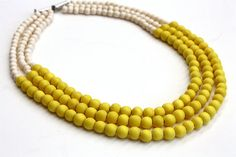 Cheerful Bright Yellow Color Block Necklace - Three Strand Yellow and Ivory Wood Bead Necklace - Yellow Bridesmaid Necklace - Multi Strand