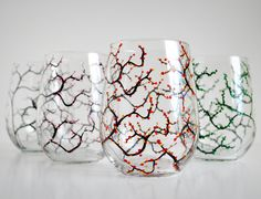 The Four Seasons Stemless Glasses - Set of 4 Hand Painted Stemless Wine Glasses available from MaryElizabethArts.com