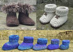 CROCHET PATTERN for BABY SLIPPER SOCKS, BOOTIES - 5 sizes, 3 styles. Ref P35,