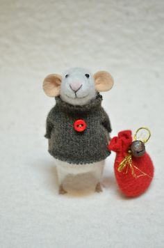 CHRISTMAS MOUSE - unique - needle felted ornament animal, felting dreams made to order. $68.00, via Etsy.