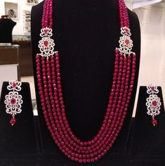 Gorgeous Layered Necklace Set with Earrings in American Diamonds,Ruby Stones & Maroon Color Beads - Traditional and Fashion Indian Jewelry Bead Jewellery, Beaded Jewelry, Beaded Necklace, Latest Jewellery, Jewellery Making, Bridal Jewelry, Diamond Jewelry, Indian Jewelry Sets, Layered Necklace Set