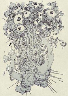 """Artist:  James Jean  """"VISCERA II""""  Ink and Digital  8"""" x 11 1/2""""  2014  http://www.jamesjean.com/"""