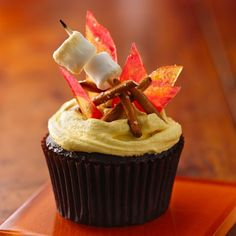 Learn how to make this deliciously gorgeous campfire cupcake from @Beth Rubin Crocker and more for an outdoor, woodland themed kid #birthday party. http://blog.gifts.com/gift-trends/kids-party-trends-the-great-outdoors
