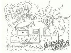 Image result for vintage caravan coloring pages