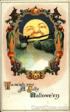 Vintage Halloween postcard. Jolly + Halloween...kind of interesting idea