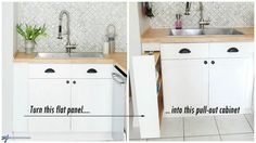 Hidden Kitchen Storage: Turn a Filler Panel Into a Pull-Out Cabinet! If you have filler strips in your kitchen, you can reclaim that wasted space and build a custom base cabinet into the space the filler occupies - even with a gap as little as Farmhouse Pantry Cabinets, Kitchen Pantry, Kitchen Items, Diy Kitchen, Kitchen Storage, Kitchen Design, Space Kitchen, Kitchen Decor, Kitchen Cart