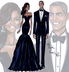 "haydenwilliamsillustrations: "" First Lady Michelle Obama & President Barack Obama at the China State Dinner by Hayden Williams """