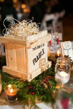 table decor a christmas story wedding in Baltimore maryland tPoz Photography 1 A Christmas Story Themed Wedding Ceremony in Baltimore: Faith Jason Christmas Story Party Ideas, Xmas Party, A Christmas Story, Christmas Parties, Christmas Tea, Christmas 2019, Christmas Potluck, Centerpiece Decorations, Christmas Decorations