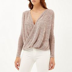 Pink wrap front long sleeve top