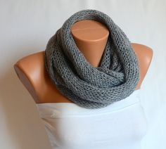 infinity scarf  hand knit  grey infinity scarf circle by bstyle, $35.00