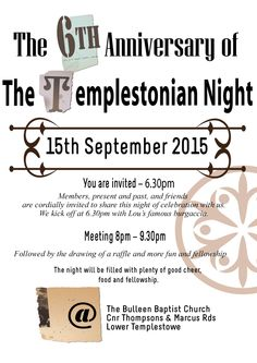 """Sept 15 TEMPLESTONIAN NIGHT 6TH ANNIVERSARY Tuesday with Lou's famous """"Burgaccia"""" are served at 6.30pm followed by meeting at 8pm. Also sweets, tea, coffee softdrinks and raffles. Special guest speakers. Don't miss it"""