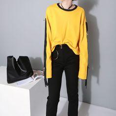 Zipper Sleeve Extra Long Sleeve Shirts