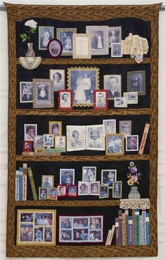 """""""Our Whole Life"""" quilt by Susan Stewart; 5 generations of her family photos transferred to fabric for a """"bookcase"""" style quilt; click through for other views of this marvelous quilt. Quilting Tips, Quilting Projects, Quilting Designs, Sewing Projects, Fabric Art, Fabric Crafts, Sewing Crafts, Foto Quilts, Wow Photo"""