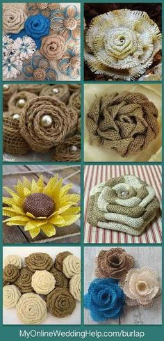 How to Make Burlap FlowersAn alternative to DIY is to buy. Here are some different styles of rustic burlap wedding flowers (the sunflower if perfect for a barn wedding). All are available to purchase. Burlap Projects, Burlap Crafts, Fabric Crafts, Diy And Crafts, Diy Projects, Burlap Decorations, Burlap Wreath, Wedding Decorations, Burlap Flowers