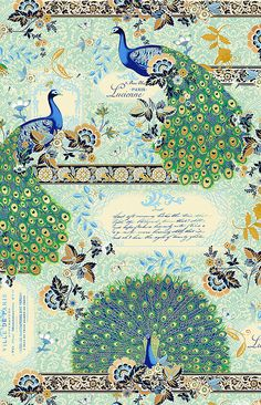 Moonlight Peacock - King of the Garden - Aquamarine/Gold  'Moonlight Peacock' collection by Hoffman Fabrics.