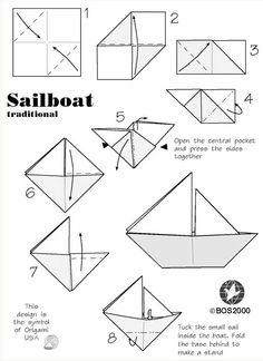 Origami. 9 Pasos para hacer barcos de papel. Ilustraciones