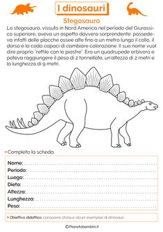 I Dinosauri: Schede Didattiche per la Scuola Primaria | PianetaBambini.it Interesting Animals, Daycare Crafts, Teaching History, Prehistory, New Years Eve Party, Primary School, Education, Terra, Chakra