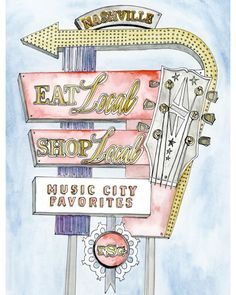 Visiting Nashville for this week's @cma Music Fest? Check out our favorite addition to this year's guide, the @tennhensdesign map of our local favorites. Nashville City Guide / watercolor / Music City / shop local / ©TennHens