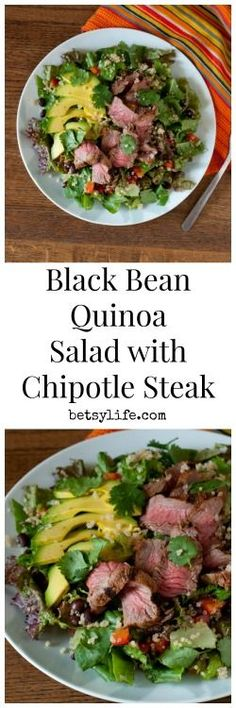 Black Bean Quinoa Salad with Chipotle Steak. A healthy dinner recipe that can be made mostly on the grill. Perfect for a hot summer night.