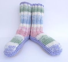 Striped NZ Sheepskin and Wool Slipper Socks