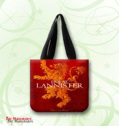 "House Lannister - Hear Me Roar Custom Tote Bag (one side)  A great every day bag to take you through your day!  Product Details Size: 12.2"" x 11"" x 3.3"" This 100% heavyweight 10 oz cotton canvas tote"