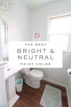 Paint Colors With White Trim, Pale Grey Paint, Pale Blue Paints, Light Grey Paint Colors, Gray Painted Walls, Gray Color, Best Neutral Paint Colors, Paint Colours, Colors To Brighten A Room