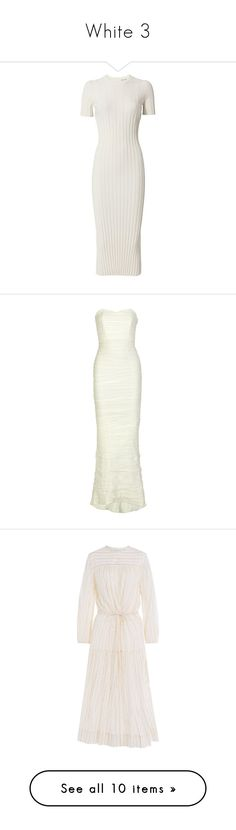 """""""White 3"""" by jckyleeah ❤ liked on Polyvore featuring white, dresses, winter white dress, mid calf dresses, knit midi dress, calf length dresses, white knit dress, wedding dresses, gowns and wedding"""