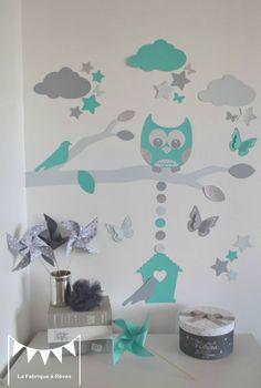 gigoteuse turbulette tour de lit hibou toiles gris turquoise d coration chambre b b fille. Black Bedroom Furniture Sets. Home Design Ideas