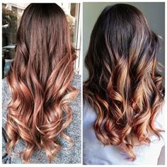 """My rose gold balayage inspiration/after picture after getting my hair done by @emmas_parlour this week! (Inspirational pin on the left and my """"After"""" picture on the right!) To get this color, Emma lightened the ends and toned it twice to enrich the hint of rose in the gold at the bottom! P.S. A balayage is like an ombre but it's more like a sombre (soft-ombre) but it's """"painted"""" quality blends the lighter-color softly up through through to the top in a few places (vs. an ombre is slightly…"""