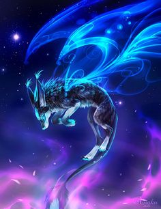 Anime Wolf Female With Wings Mystical Animals, Mythical Creatures Art, Magical Creatures, Pet Anime, Anime Animals, Anime Art, Fantasy Kunst, Fantasy Art, Galaxy Wolf