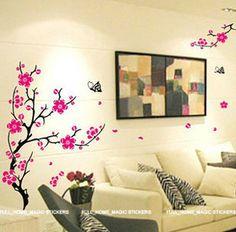 wall art partially transparent vinal   ... Blossom Tree Wall Stickers Vinyl Art Decals Transparent & Reusable