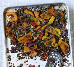 Pack in an impressive 3 of your 5 a day with this spicy vegetarian lentil dish filled with roast butternut squash, peppers and onions