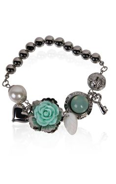#mint beaded #charm #bracelet