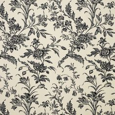 Lloyd Floral Jacquard Curtain Fabric, Charcoal/Natural