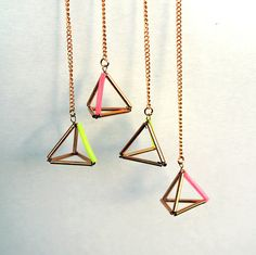 Geometric triangle pyramid pink and gold duster door AlmostDone