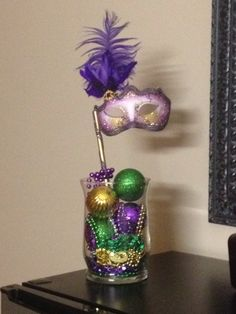 DIY Mardi Gras table centerpiece. I made this for my mom who is in the nursing home to brighten up her room :)
