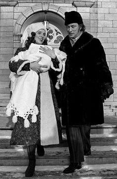 Prime Minister Trudeau and Margaret leave the city's Notre Dame Basilica Sunday afternoon after the christening of their 22-day old infant Justin Pierre James (Jan 16, 1972)