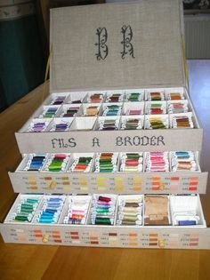 Les Marottes de Nathalie. instructions in french to make this cardboard chest for embroidery threads